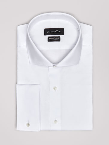 PERSONAL TAILORING SLIM FIT WHITE TEXTURED WEAVE COTTON SHIRT