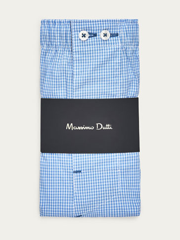 BLUE GINGHAM CHECK PRINT BOXERS