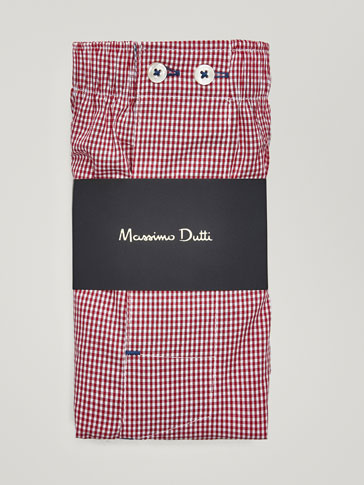 RED GINGHAM CHECK PRINT BOXERS
