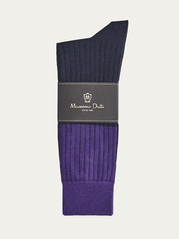 RIBBED COTTON SOCKS WITH CONTRASTING DETAIL