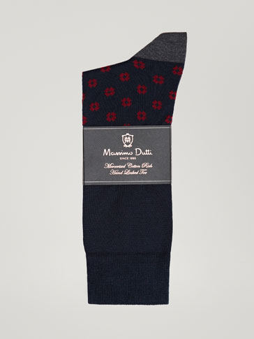 MERCERIZED COTTON SOCKS WITH A GEOMETRIC DESIGN