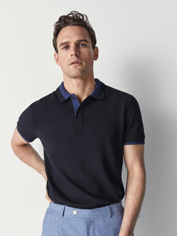 TEXTURED WEAVE COTTON POLO SHIRT WITH STRIPE DETAIL