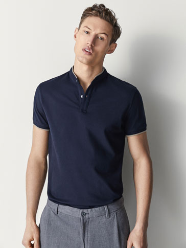 COTTON POLO SHIRT WITH CONTRASTING DETAIL