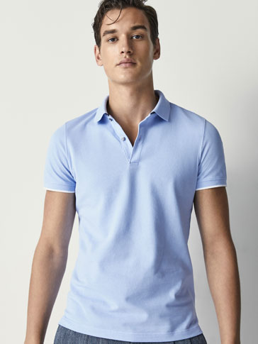 COTTON POLO SHIRT WITH DOUBLE COLLAR