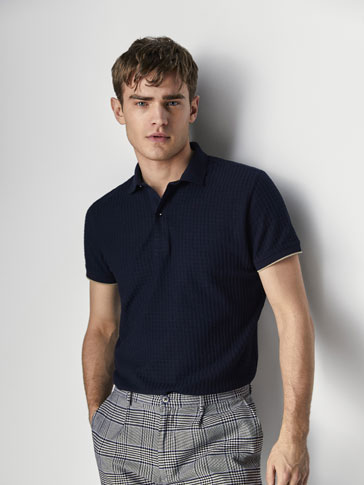 CHECKED TEXTURED WEAVE COTTON POLO SHIRT