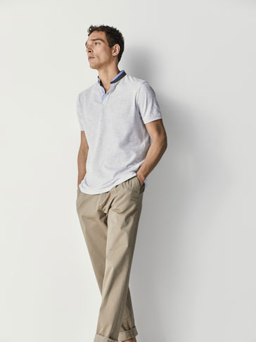MARL POLO SHIRT WITH CONTRASTING DETAIL