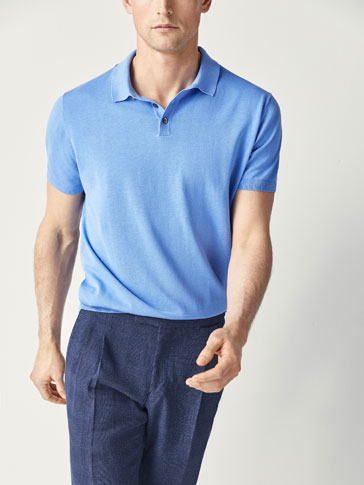 POLO-STYLE COTTON SWEATER