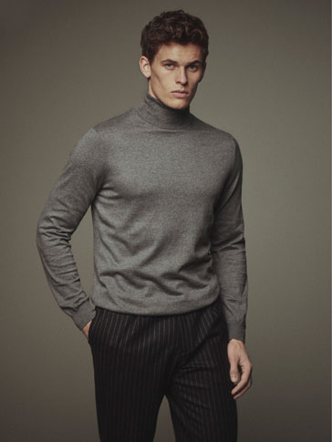 SOLID-COLOURED COTTON/SILK/CASHMERE SWEATER