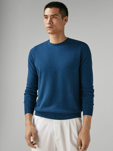 PLAIN WOOL/CASHMERE SWEATER WITH RIBBED TRIMS