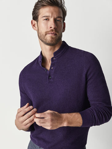 POLO-STYLE TEXTURED WEAVE COTTON/CASHMERE SWEATER
