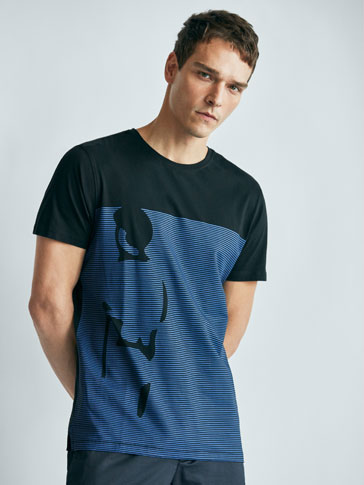 STRIPED SOFT COLLECTION T-SHIRT WITH PLACEMENT DETAIL