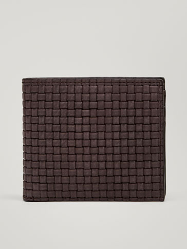 LEATHER WALLET WITH BRAIDED DETAIL