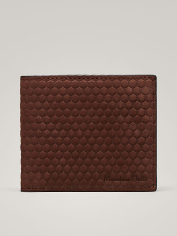NUBUCK LEATHER WALLET WITH HONEYCOMB TEXTURE