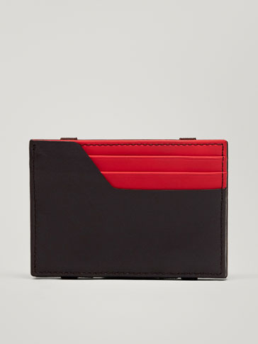 COMBINED MAGIC WALLET LEATHER CARD HOLDER WITH CONTRASTING DETAIL
