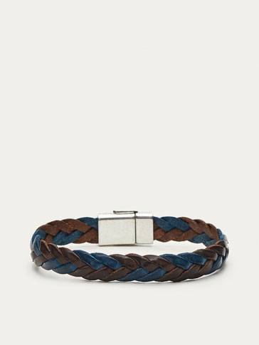 TWO-TONE LEATHER BRAIDED BRACELET
