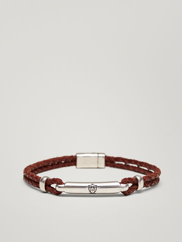 CONTRASTING PLAITED DOUBLE LEATHER BRACELET