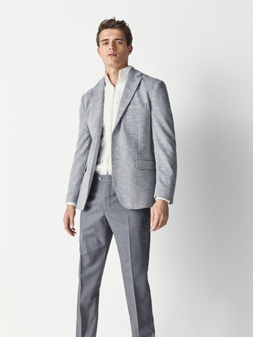 SLIM FIT HERRINGBONE COTTON BLAZER