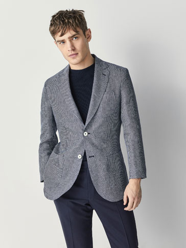 VESTE TAILLEUR LIN MICRO CARREAUX SLIM FIT