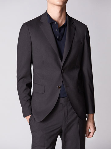 PERSONAL TAILORING SLIM FIT BROWN CHECKED WOOL AND HALF-CANVAS BLAZER