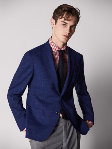 PERSONAL TAILORING SLIM FIT CHECKED WOOL BLAZER