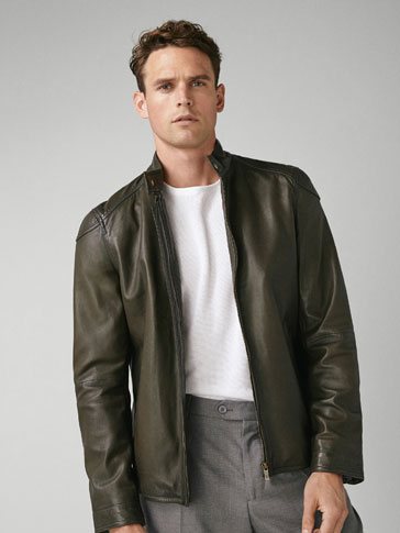 GREEN NAPPA LEATHER JACKET
