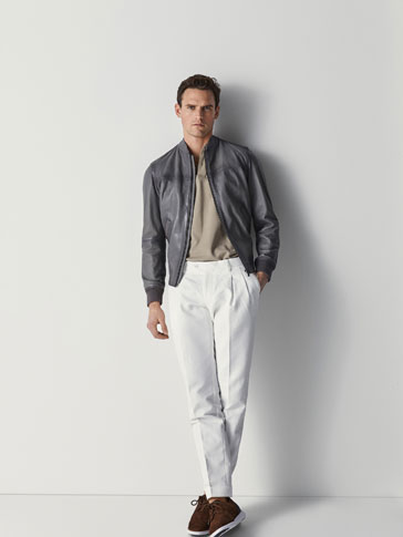 BOMBER-STYLE NAPPA LEATHER JACKET