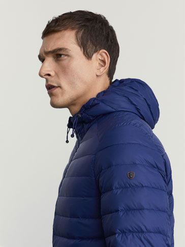 BLUE DOWN JACKET WITH HOOD DETAIL