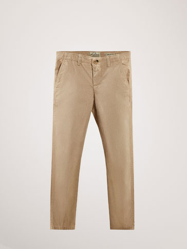 SLIM FIT CHINO-STYLE BEIGE TROUSERS
