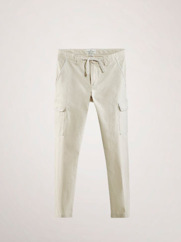 POPLIN TROUSERS WITH CARGO POCKETS