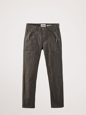 REGULAR FIT COTTON TROUSERS WITH POCKETS