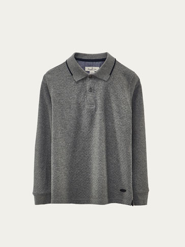 CHECKED TEXTURED WEAVE POLO SHIRT