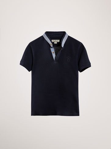 PLAIN POLO SHIRT WITH CONTRASTING DETAIL