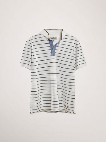 STRIPED POLO SHIRT WITH CONTRASTING DETAILS