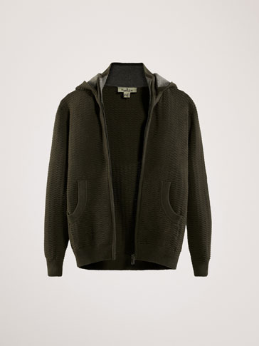 TEXTURED WEAVE COTTON/CASHMERE CARDIGAN WITH REMOVABLE HOOD