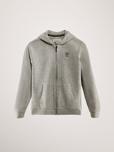 TEXTURED WEAVE COTTON SWEATSHIRT