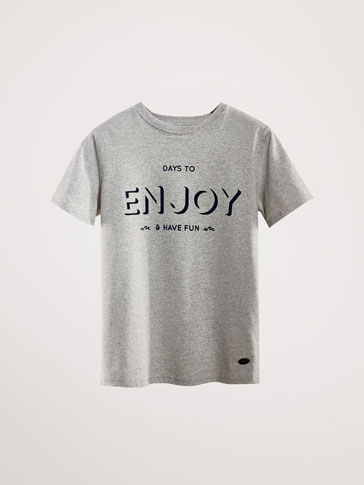 'ENJOY' SLOGAN COTTON T-SHIRT
