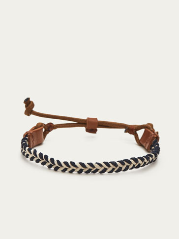 CONTRAST LEATHER BRACELET WITH HERRINGBONE PLAITED DETAIL
