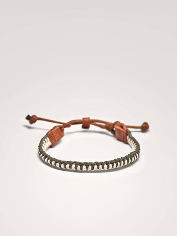 CONTRAST LEATHER BRACELET WITH PLAITED DETAIL