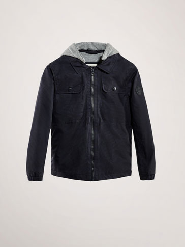 TECHNICAL JACKET WITH CONTRASTING HOOD