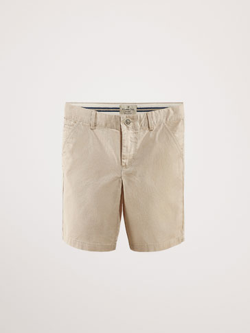 TEXTURED WEAVE OXFORD BERMUDA SHORTS