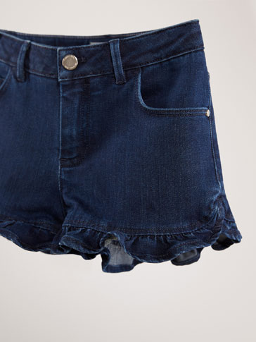 DENIM SHORTS WITH RUFFLE DETAIL