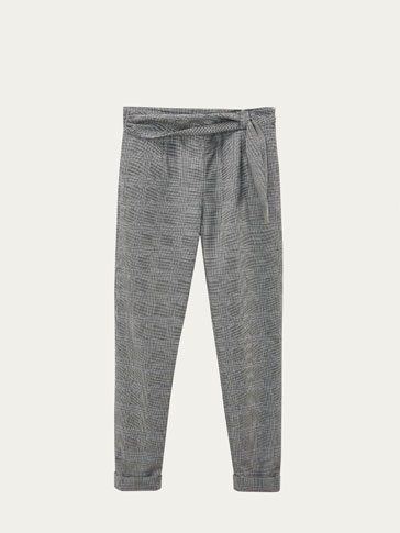 SLIM FIT CHECKED TROUSERS WITH FRONT DETAIL