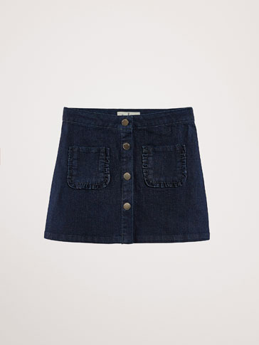 DENIM SKIRT WITH RUFFLE DETAIL