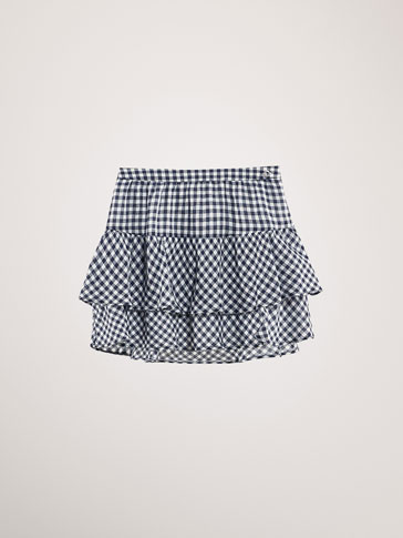 COTTON RUFFLED GINGHAM SKIRT