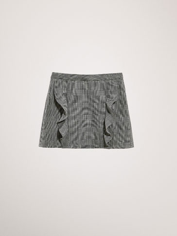 CHECKED SKIRT WITH RUFFLE DETAIL