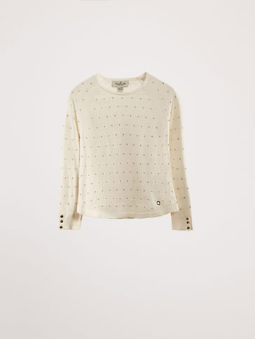 SWEATER WITH SHIMMER POLKA DOT DETAIL