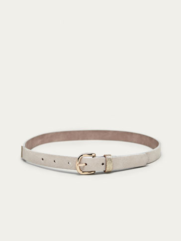 LEATHER BELT WITH CONTRASTING DETAIL