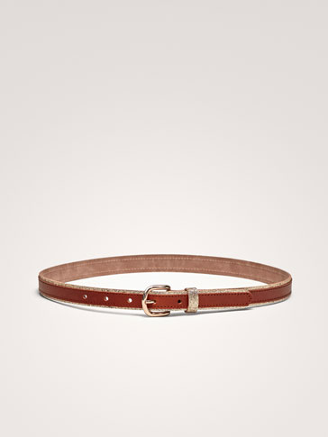 LEATHER BELT WITH SHIMMER DETAIL