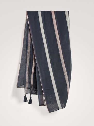 STRIPED FOULARD WITH TASSELS