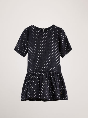 POLKA DOT DRESS WITH SET-IN SLEEVE DETAIL
